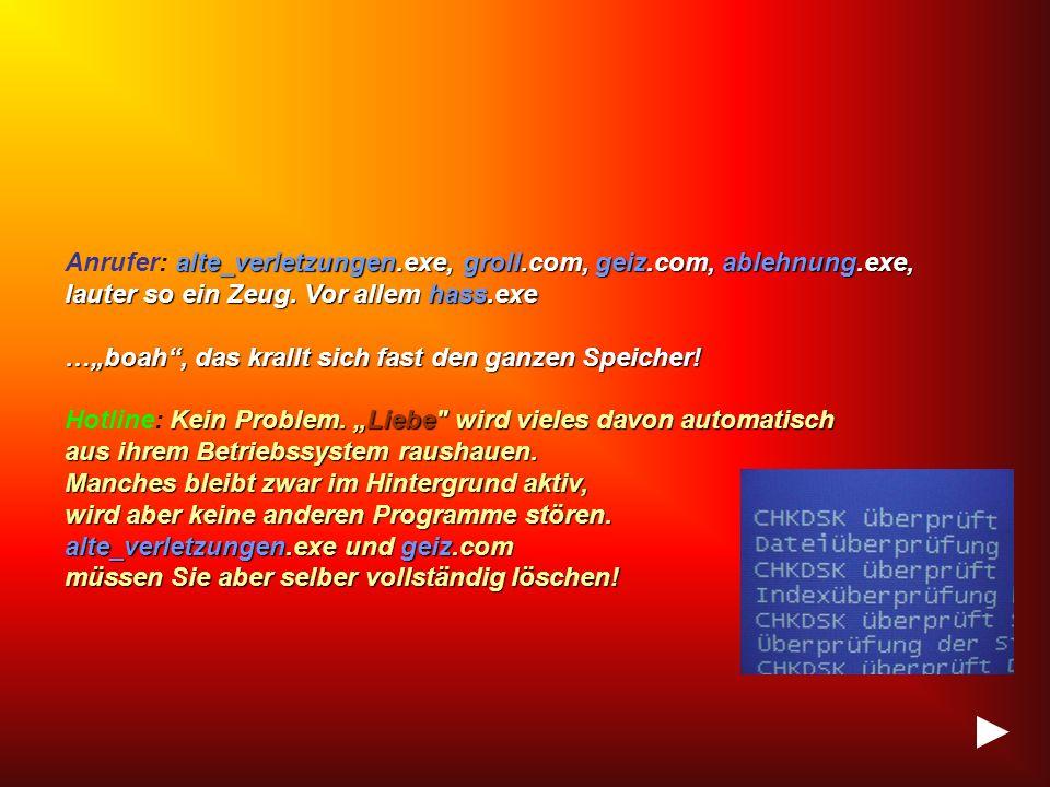 Anrufer: a aa alte_verletzungen.exe, groll.com, geiz.com, ablehnung.exe, lauter so ein Zeug.