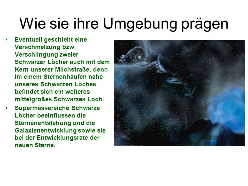 Jets; Mahlströme etc.Ströme galten als Schlünde in der Raumzeit (Mahlströme).