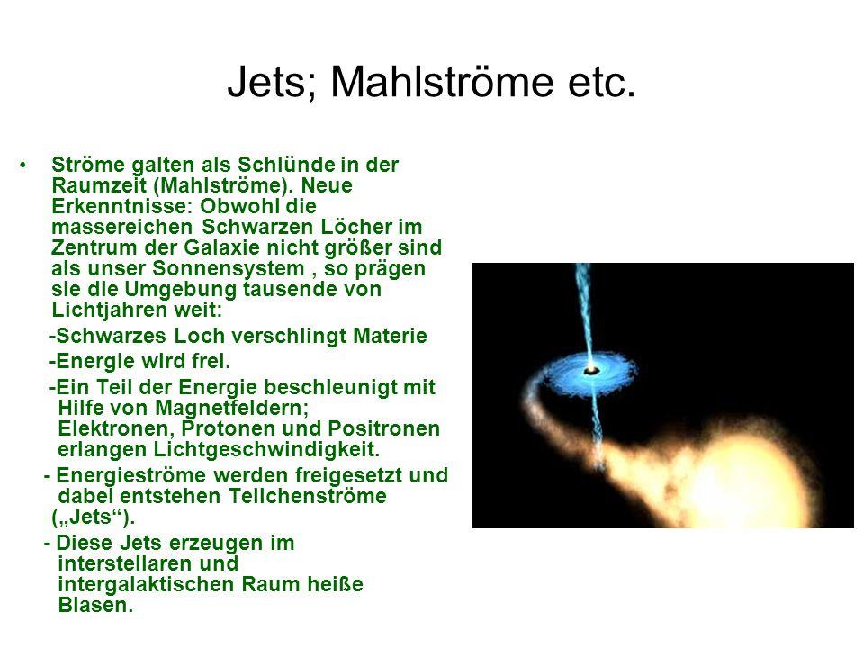 Jets; Mahlströme etc. Ströme galten als Schlünde in der Raumzeit (Mahlströme). Neue Erkenntnisse: Obwohl die massereichen Schwarzen Löcher im Zentrum