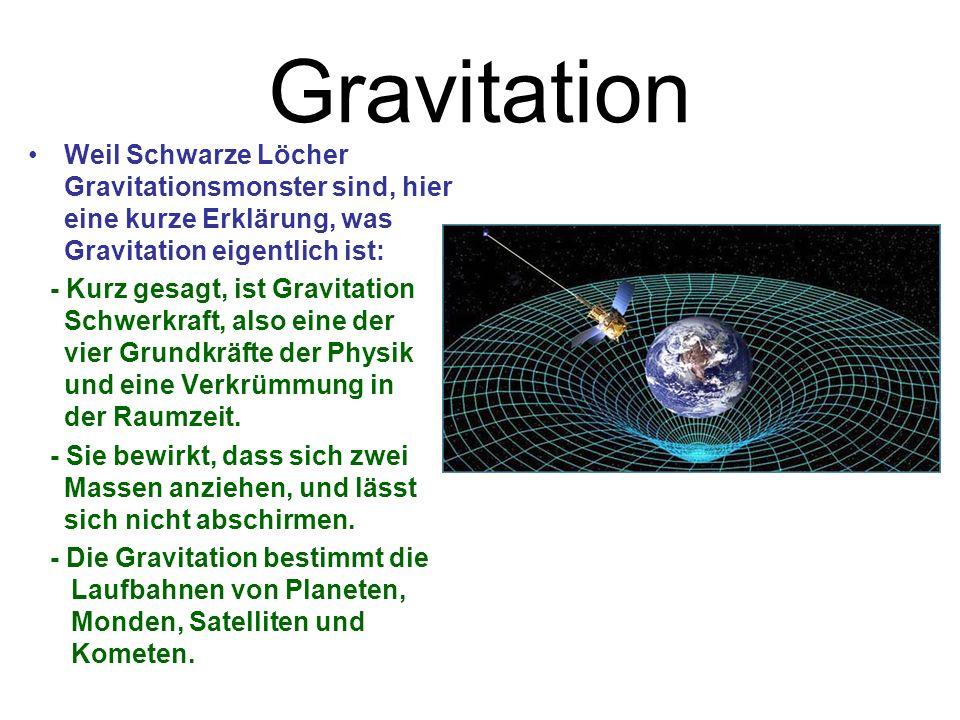 Gravitation Weil Schwarze Löcher Gravitationsmonster sind, hier eine kurze Erklärung, was Gravitation eigentlich ist: - Kurz gesagt, ist Gravitation Schwerkraft, also eine der vier Grundkräfte der Physik und eine Verkrümmung in der Raumzeit.