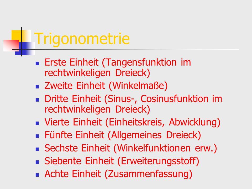 Trigonometrie Erste Einheit (Tangensfunktion im rechtwinkeligen Dreieck) Zweite Einheit (Winkelmaße) Dritte Einheit (Sinus-, Cosinusfunktion im rechtw