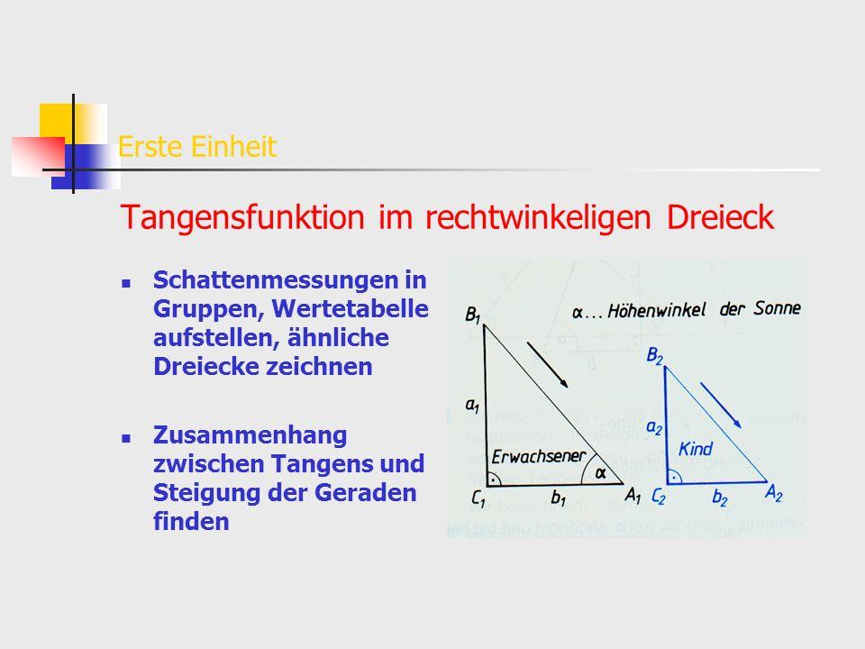 Erste Einheit Tangensfunktion im rechtwinkeligen Dreieck Schattenmessungen in Gruppen, Wertetabelle aufstellen, ähnliche Dreiecke zeichnen Zusammenhan