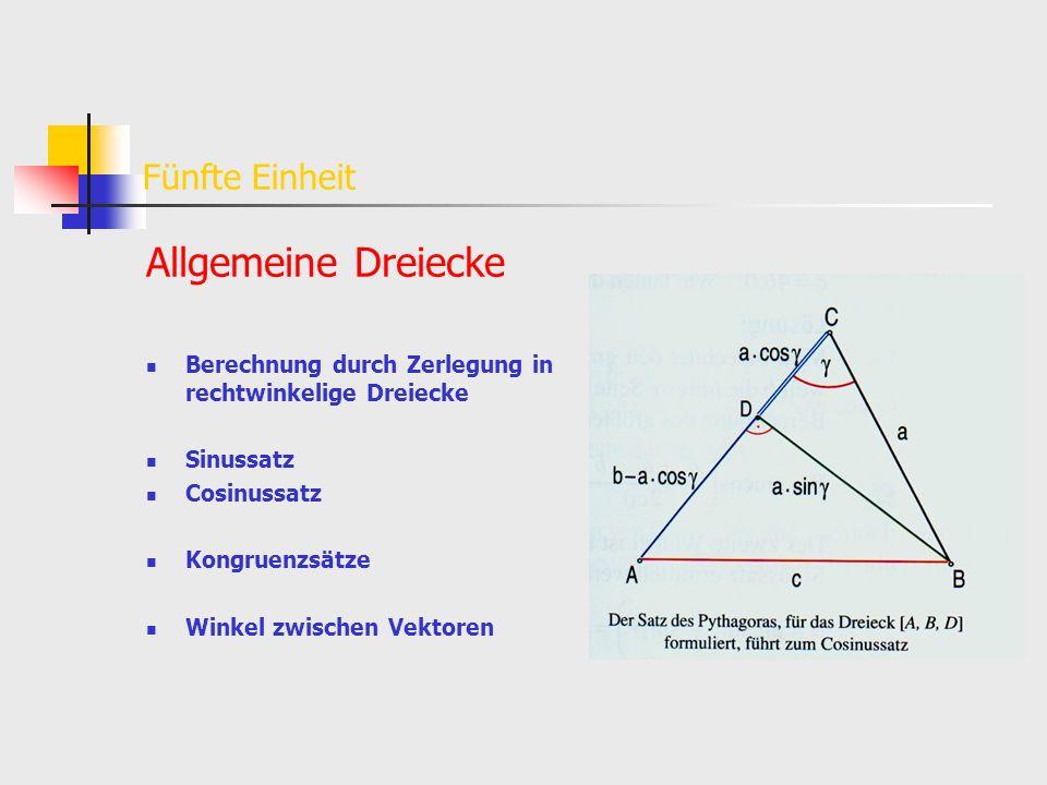 Fünfte Einheit Allgemeine Dreiecke Berechnung durch Zerlegung in rechtwinkelige Dreiecke Sinussatz Cosinussatz Kongruenzsätze Winkel zwischen Vektoren