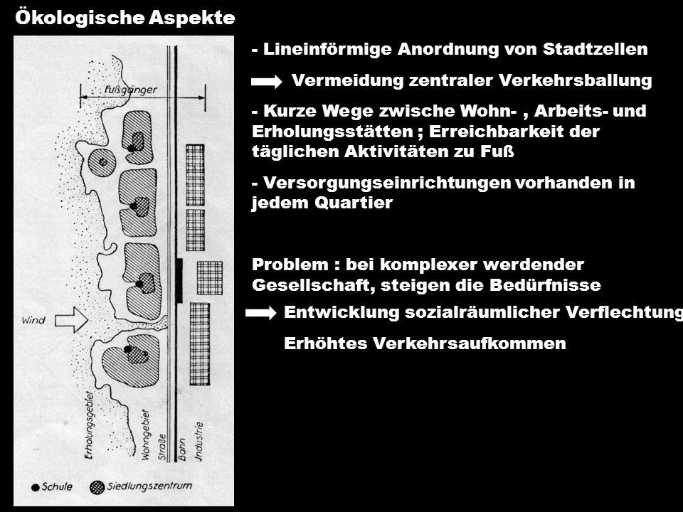 Ökologische Aspekte - Lineinförmige Anordnung von Stadtzellen Vermeidung zentraler Verkehrsballung - Kurze Wege zwische Wohn-, Arbeits- und Erholungss