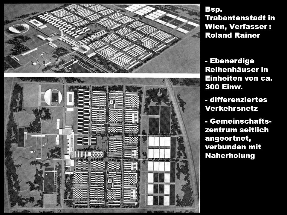 Bsp. Trabantenstadt in Wien, Verfasser : Roland Rainer - Ebenerdige Reihenhäuser in Einheiten von ca. 300 Einw. - differenziertes Verkehrsnetz - Gemei