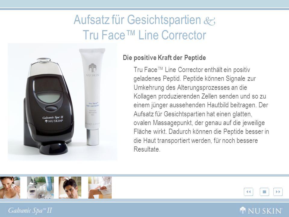 Die positive Kraft der Peptide Tru Face Line Corrector enthält ein positiv geladenes Peptid. Peptide können Signale zur Umkehrung des Alterungsprozess