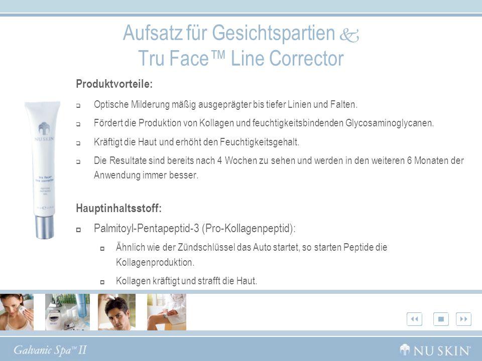 Aufsatz für Gesichtspartien Tru Face Line Corrector Produktvorteile: Optische Milderung mäßig ausgeprägter bis tiefer Linien und Falten. Fördert die P