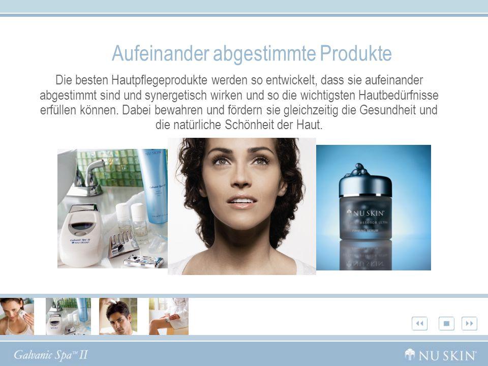 Aufeinander abgestimmte Produkte Die besten Hautpflegeprodukte werden so entwickelt, dass sie aufeinander abgestimmt sind und synergetisch wirken und