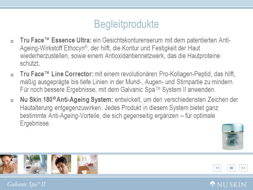 Begleitprodukte Tru Face Essence Ultra: ein Gesichtskonturenserum mit dem patentierten Anti- Ageing-Wirkstoff Ethocyn ®, der hilft, die Kontur und Fes