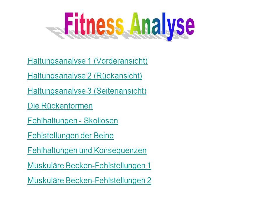 Haltungsanalyse 1 (Vorderansicht) Haltungsanalyse 2 (Rückansicht) Haltungsanalyse 3 (Seitenansicht) Die Rückenformen Fehlhaltungen - Skoliosen Fehlste