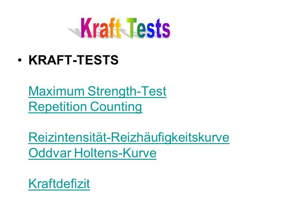 KRAFT-TESTS Maximum Strength-Test Repetition Counting Reizintensität-Reizhäufigkeitskurve Oddvar Holtens-Kurve Kraftdefizit