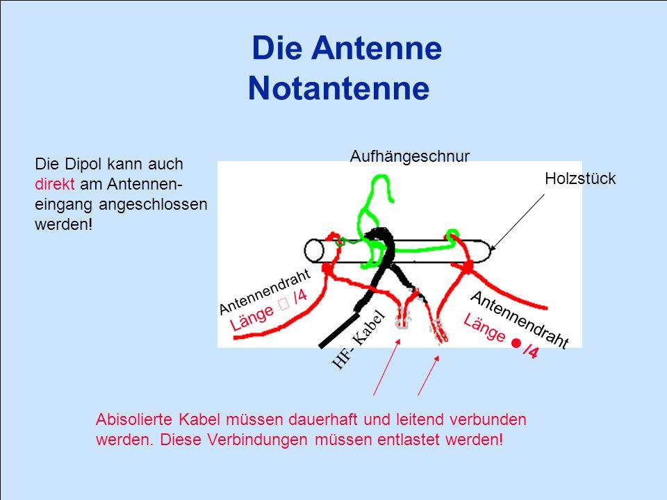 Die Antenne Notantenne Die Dipol kann auch direkt am Antennen- eingang angeschlossen werden.