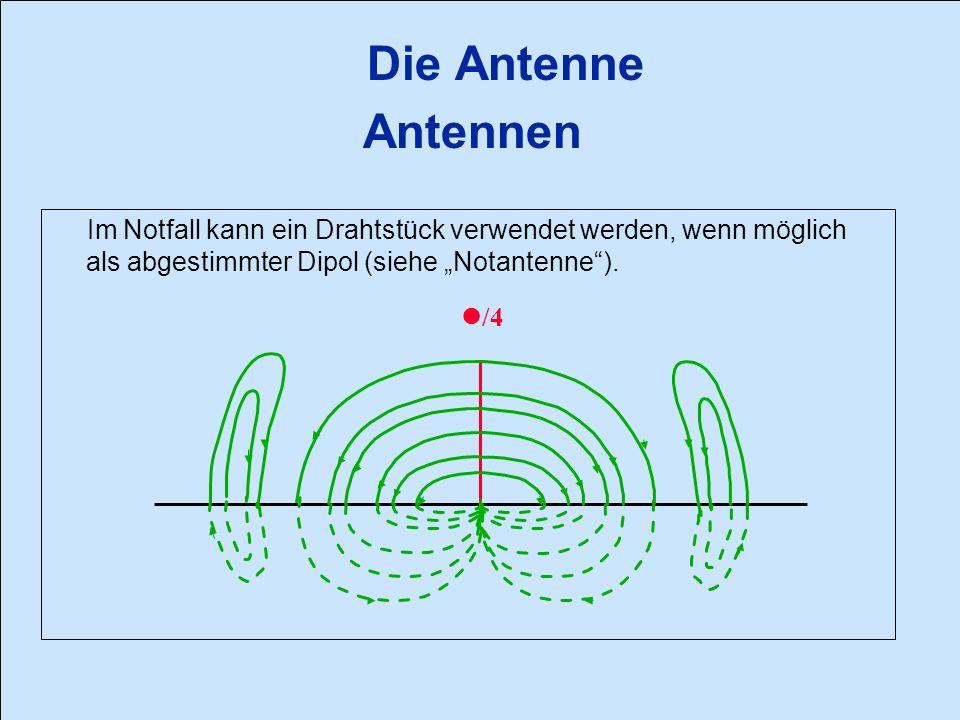 Die Antenne Hauptkenndaten Strahlungscharakteristik : Sie wird mit Hilfe eines Strahlungs- diagrammes dargestellt.