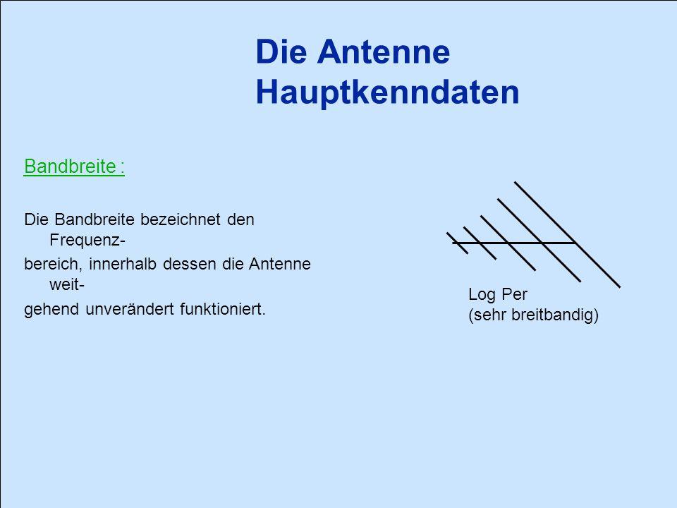 Bandbreite : Die Bandbreite bezeichnet den Frequenz- bereich, innerhalb dessen die Antenne weit- gehend unverändert funktioniert.