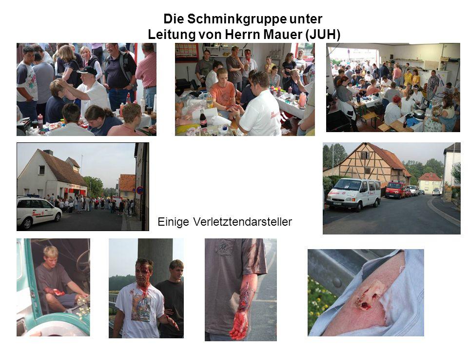 Die Schminkgruppe unter Leitung von Herrn Mauer (JUH) Einige Verletztendarsteller