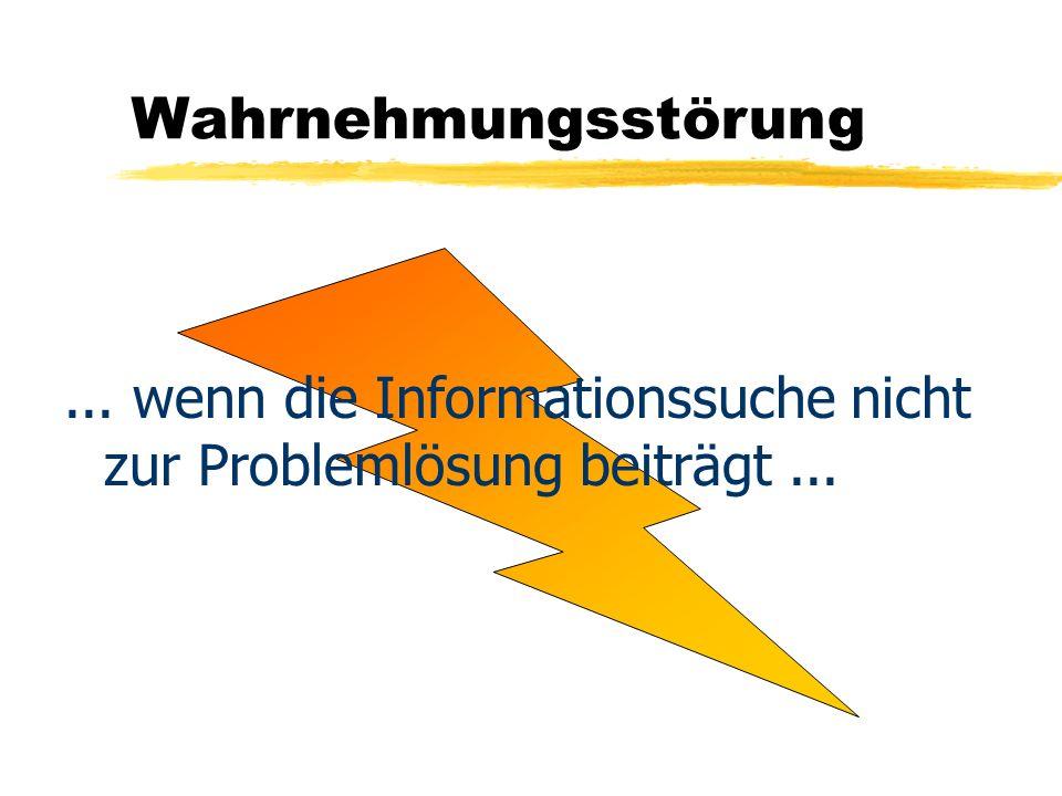 Wahrnehmungsstörung... wenn die Informationssuche nicht zur Problemlösung beiträgt...