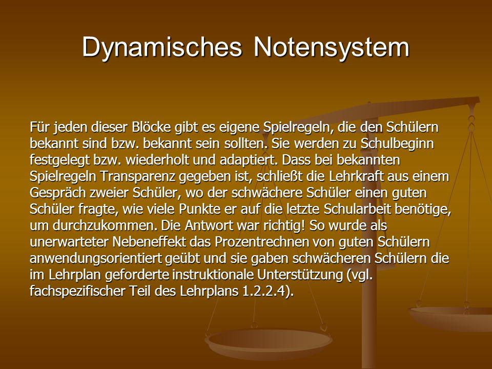 Dynamisches Notensystem Für jeden dieser Blöcke gibt es eigene Spielregeln, die den Schülern bekannt sind bzw. bekannt sein sollten. Sie werden zu Sch