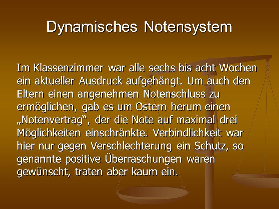 Dynamisches Notensystem Im Klassenzimmer war alle sechs bis acht Wochen ein aktueller Ausdruck aufgehängt. Um auch den Eltern einen angenehmen Notensc
