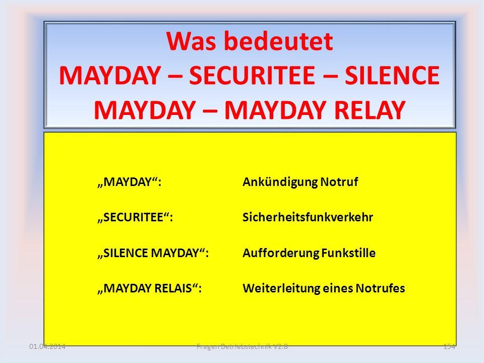 Was bedeutet MAYDAY – SECURITEE – SILENCE MAYDAY – MAYDAY RELAY MAYDAY: Ankündigung Notruf SECURITEE: Sicherheitsfunkverkehr SILENCE MAYDAY: Aufforder