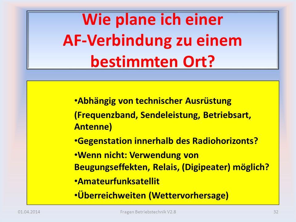 Wie plane ich einer AF-Verbindung zu einem bestimmten Ort? Abhängig von technischer Ausrüstung (Frequenzband, Sendeleistung, Betriebsart, Antenne) Geg