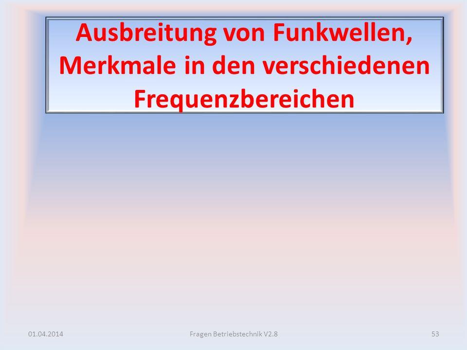 Ausbreitung von Funkwellen, Merkmale in den verschiedenen Frequenzbereichen 01.04.201453Fragen Betriebstechnik V2.8