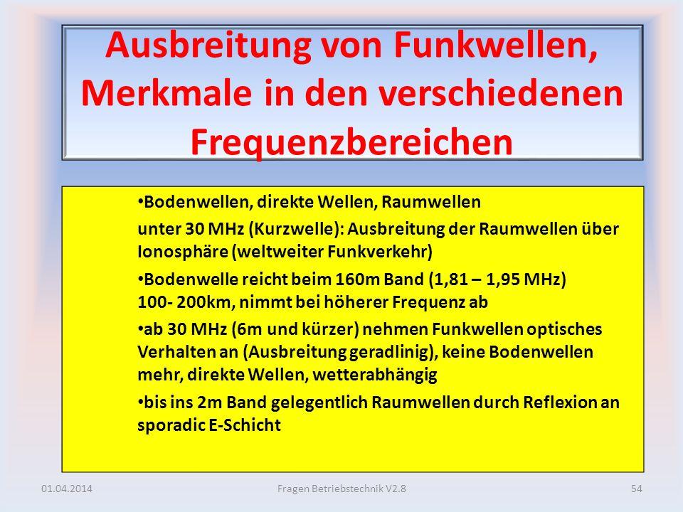 Ausbreitung von Funkwellen, Merkmale in den verschiedenen Frequenzbereichen Bodenwellen, direkte Wellen, Raumwellen unter 30 MHz (Kurzwelle): Ausbreit