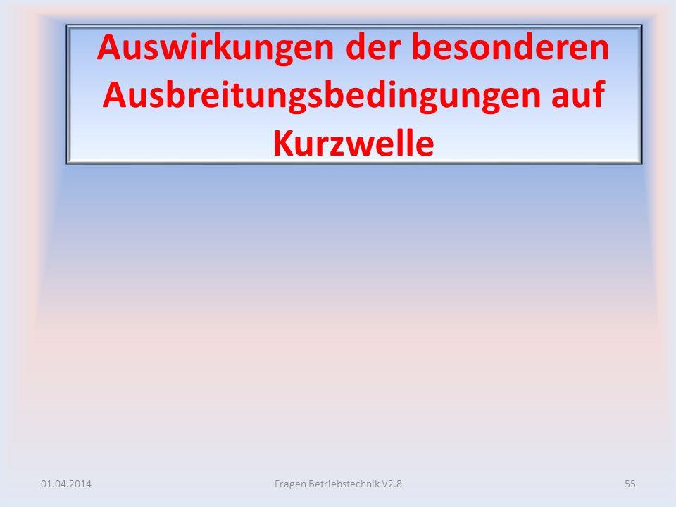 Auswirkungen der besonderen Ausbreitungsbedingungen auf Kurzwelle 01.04.201455Fragen Betriebstechnik V2.8