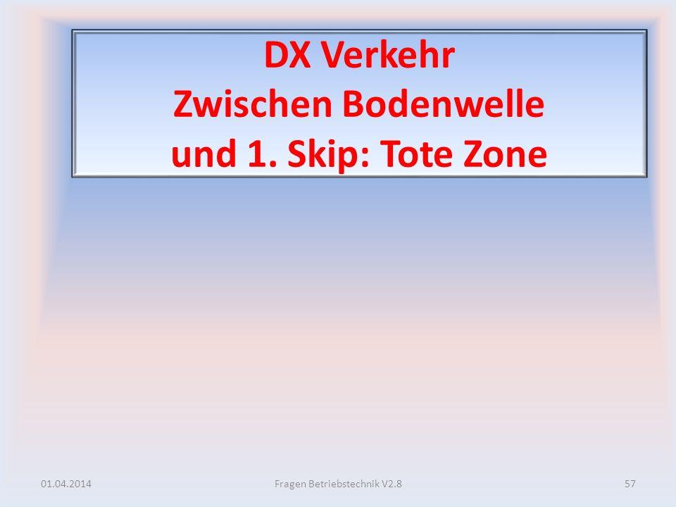 DX Verkehr Zwischen Bodenwelle und 1. Skip: Tote Zone 01.04.201457Fragen Betriebstechnik V2.8