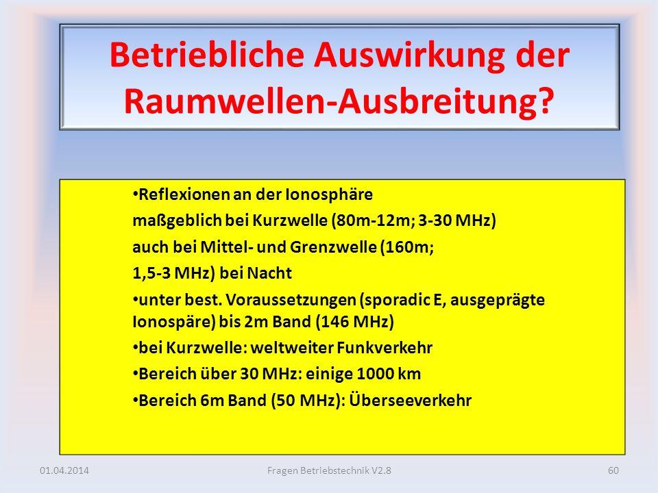 Betriebliche Auswirkung der Raumwellen-Ausbreitung? Reflexionen an der Ionosphäre maßgeblich bei Kurzwelle (80m-12m; 3-30 MHz) auch bei Mittel- und Gr