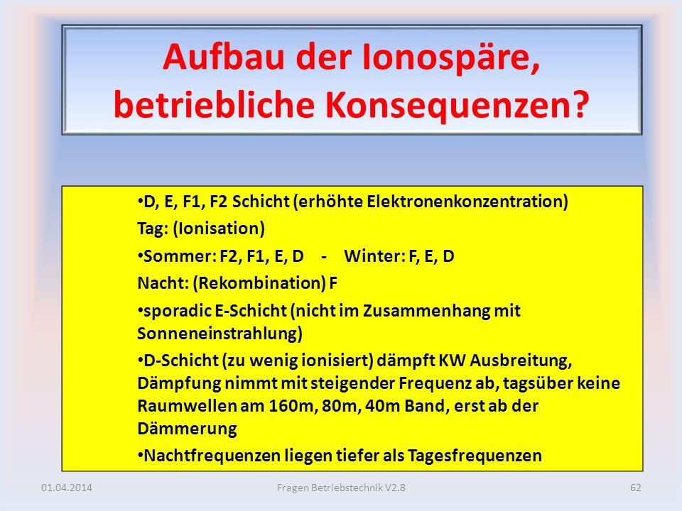 Aufbau der Ionospäre, betriebliche Konsequenzen? D, E, F1, F2 Schicht (erhöhte Elektronenkonzentration) Tag: (Ionisation) Sommer: F2, F1, E, D - Winte