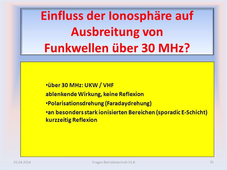 Einfluss der Ionosphäre auf Ausbreitung von Funkwellen über 30 MHz? über 30 MHz: UKW / VHF ablenkende Wirkung, keine Reflexion Polarisationsdrehung (F