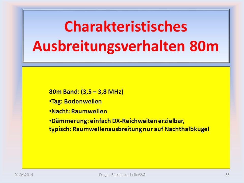 Charakteristisches Ausbreitungsverhalten 80m 80m Band: (3,5 – 3,8 MHz) Tag: Bodenwellen Nacht: Raumwellen Dämmerung: einfach DX-Reichweiten erzielbar,
