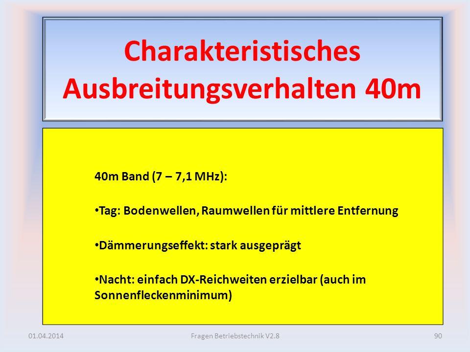 Charakteristisches Ausbreitungsverhalten 40m 40m Band (7 – 7,1 MHz): Tag: Bodenwellen, Raumwellen für mittlere Entfernung Dämmerungseffekt: stark ausg