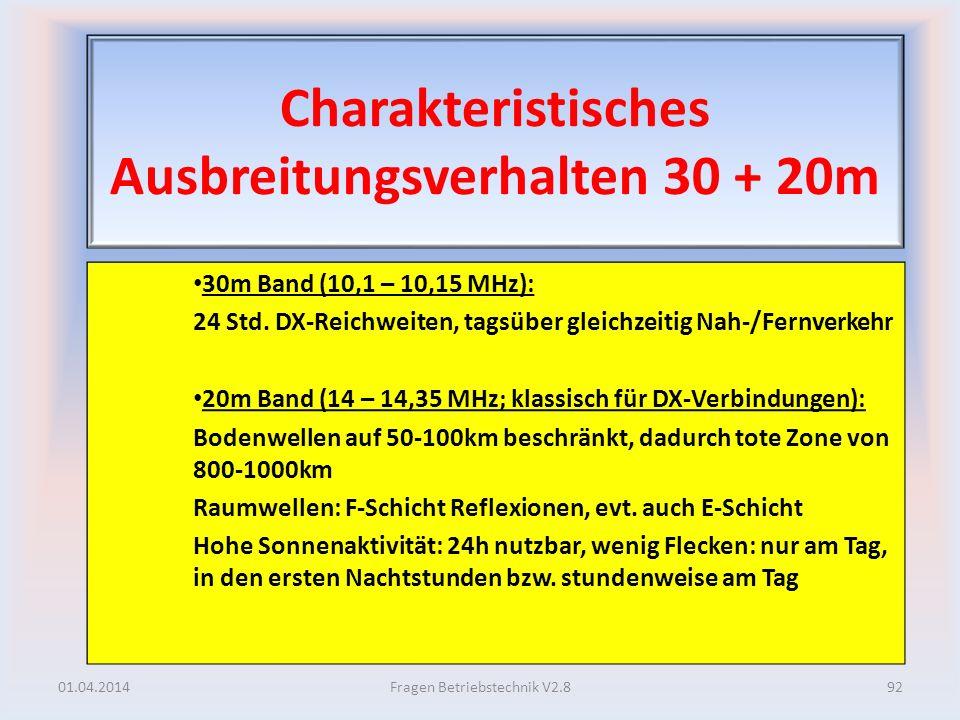 Charakteristisches Ausbreitungsverhalten 30 + 20m 30m Band (10,1 – 10,15 MHz): 24 Std. DX-Reichweiten, tagsüber gleichzeitig Nah-/Fernverkehr 20m Band