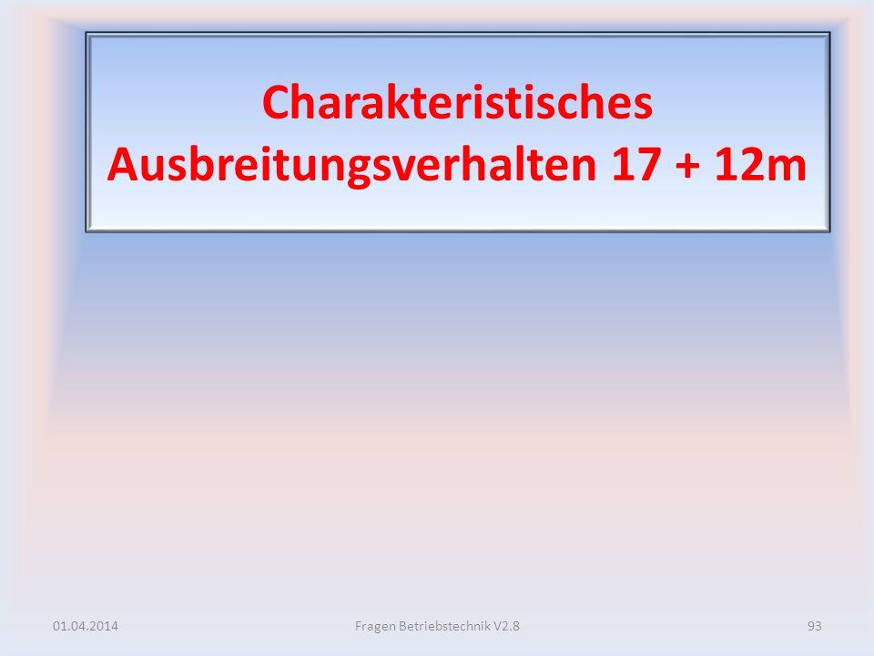 Charakteristisches Ausbreitungsverhalten 17 + 12m 01.04.201493Fragen Betriebstechnik V2.8