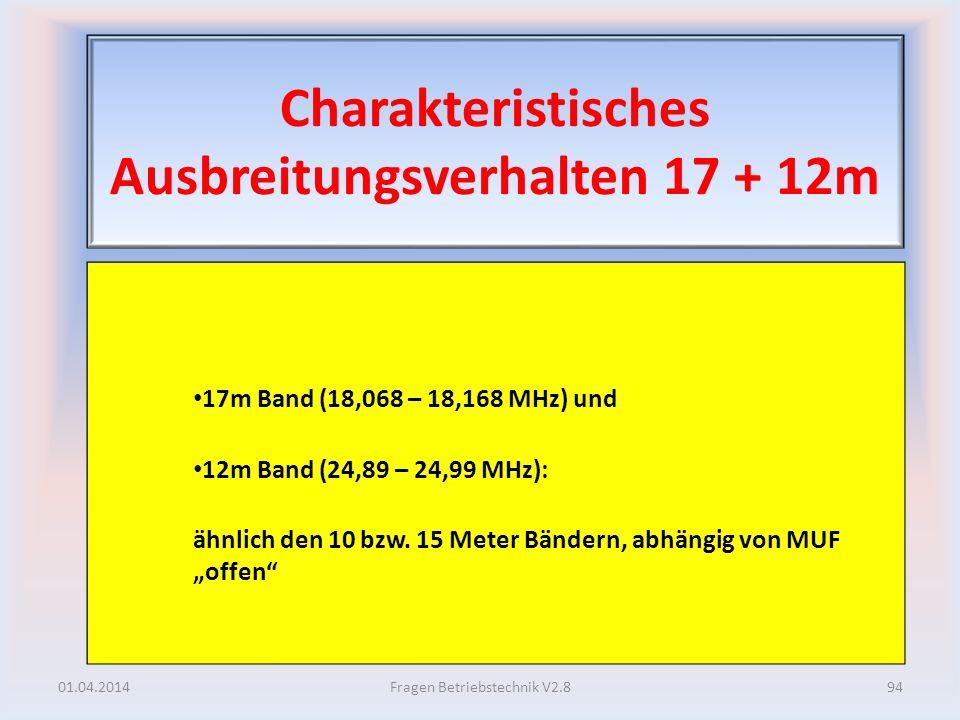 Charakteristisches Ausbreitungsverhalten 17 + 12m 17m Band (18,068 – 18,168 MHz) und 12m Band (24,89 – 24,99 MHz): ähnlich den 10 bzw. 15 Meter Bänder
