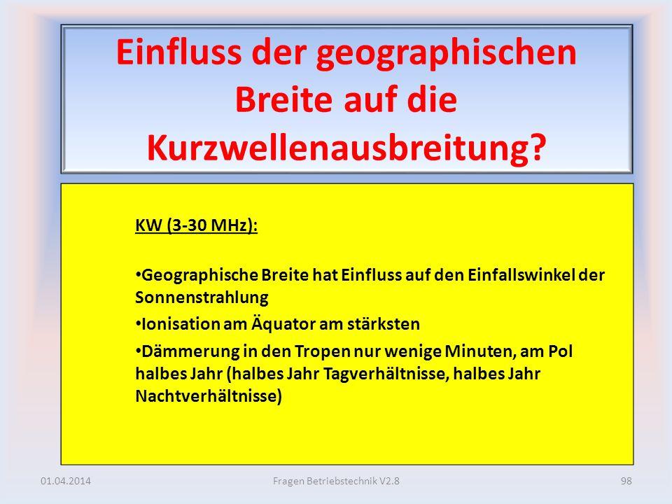 Einfluss der geographischen Breite auf die Kurzwellenausbreitung? KW (3-30 MHz): Geographische Breite hat Einfluss auf den Einfallswinkel der Sonnenst