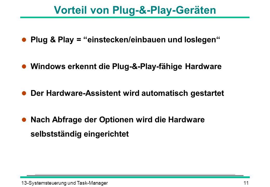 13-Systemsteuerung und Task-Manager11 Vorteil von Plug-&-Play-Geräten l Plug & Play = einstecken/einbauen und loslegen l Windows erkennt die Plug-&-Pl