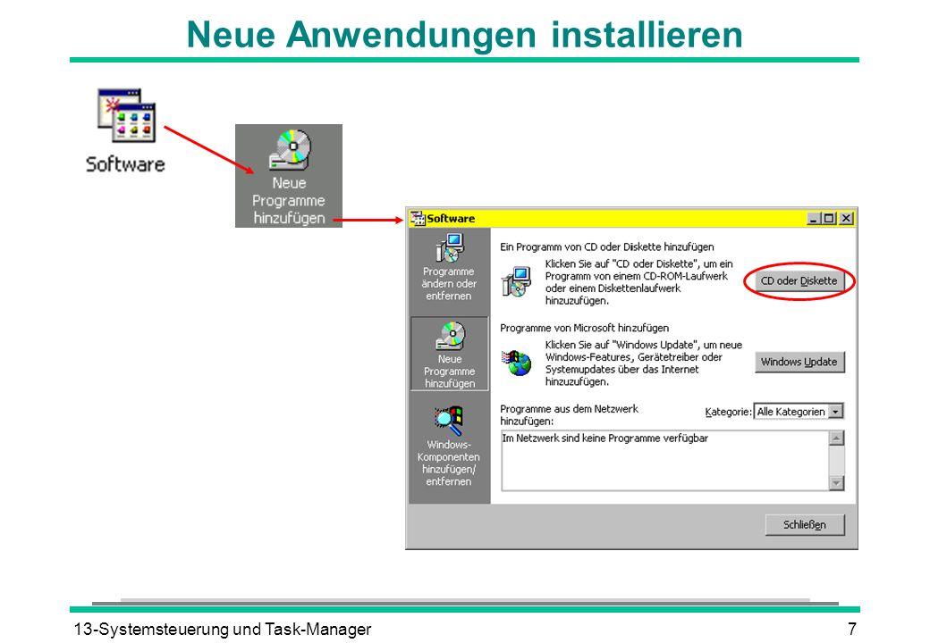 13-Systemsteuerung und Task-Manager7 Neue Anwendungen installieren