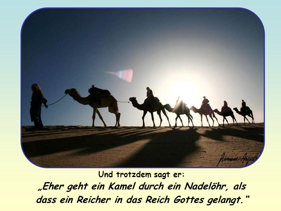 Und trotzdem sagt er: Eher geht ein Kamel durch ein Nadelöhr, als dass ein Reicher in das Reich Gottes gelangt.