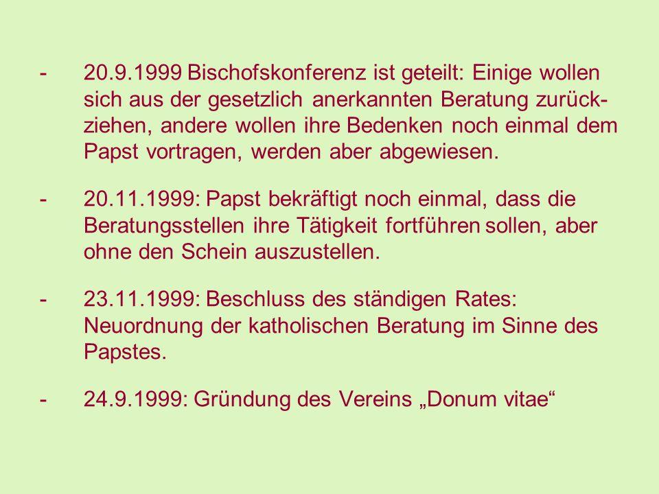 -20.9.1999 Bischofskonferenz ist geteilt: Einige wollen sich aus der gesetzlich anerkannten Beratung zurück- ziehen, andere wollen ihre Bedenken noch
