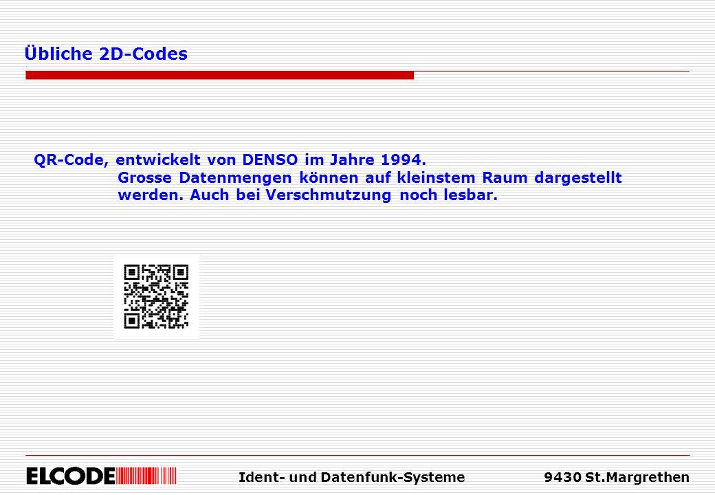 Ident- und Datenfunk-Systeme9430 St.Margrethen Übliche 2D-Codes QR-Code, entwickelt von DENSO im Jahre 1994. Grosse Datenmengen können auf kleinstem R