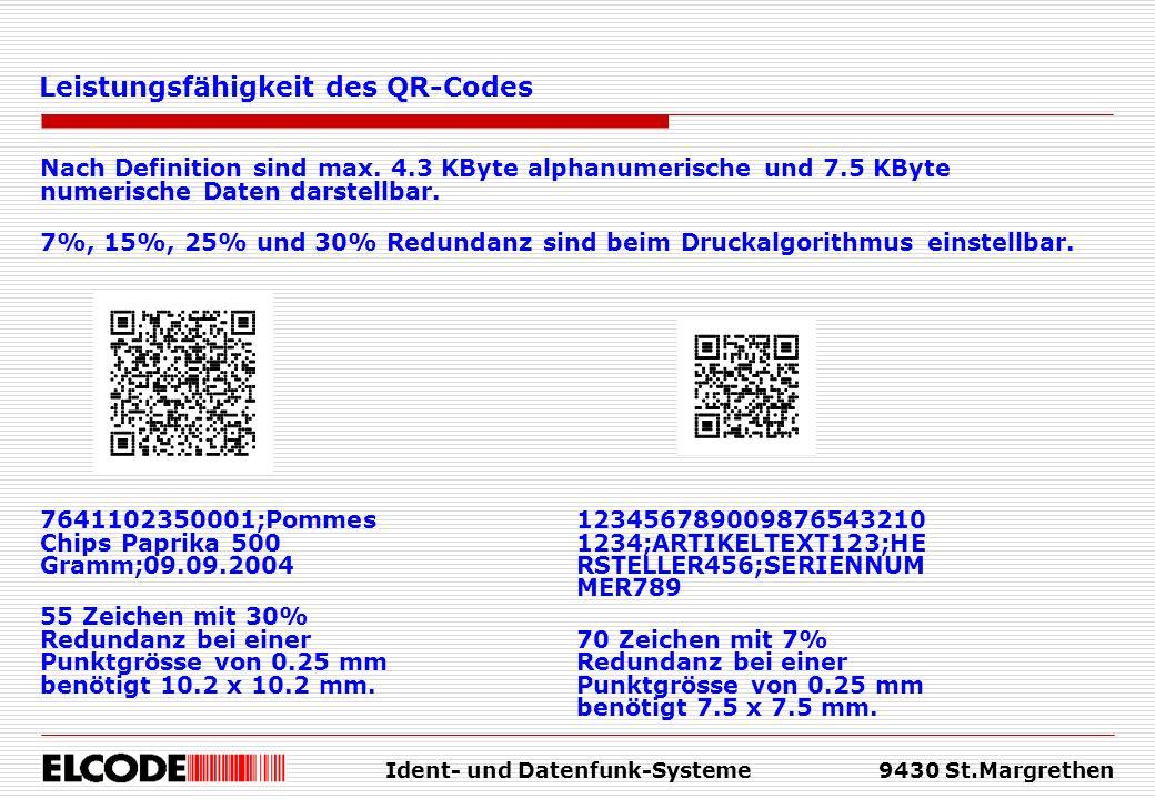 Ident- und Datenfunk-Systeme9430 St.Margrethen Nach Definition sind max. 4.3 KByte alphanumerische und 7.5 KByte numerische Daten darstellbar. 7%, 15%