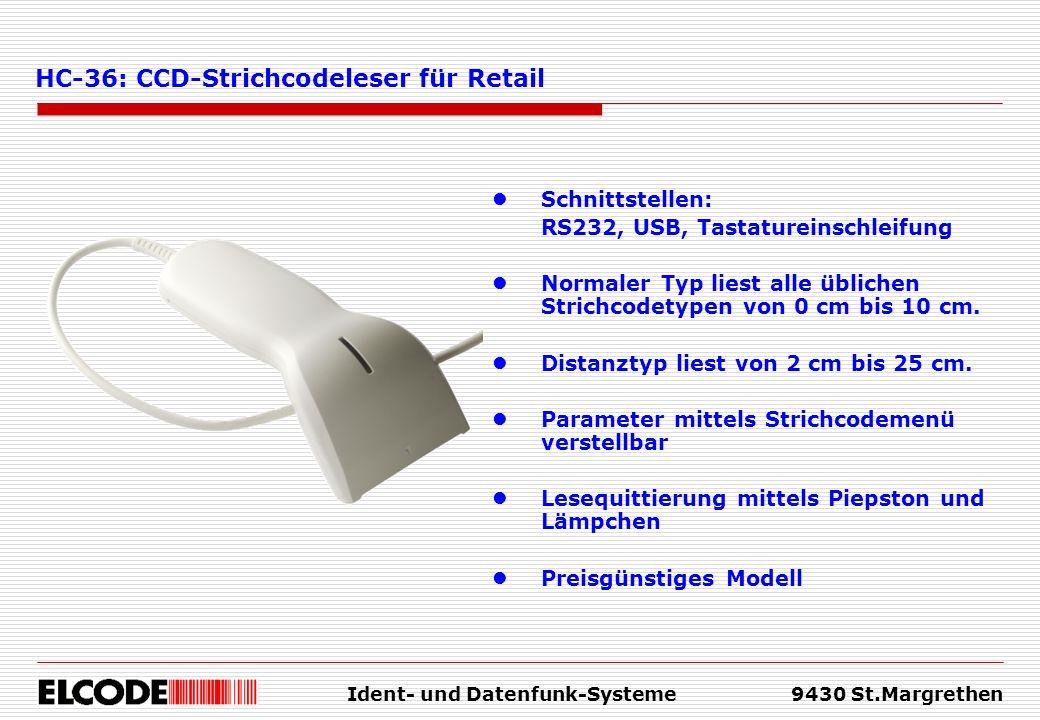 Ident- und Datenfunk-Systeme9430 St.Margrethen Schnittstellen: RS232, USB, Tastatureinschleifung Normaler Typ liest alle üblichen Strichcodetypen von