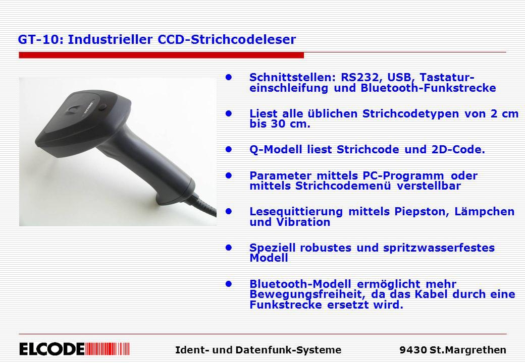 Ident- und Datenfunk-Systeme9430 St.Margrethen Schnittstellen: RS232, USB, Tastatur- einschleifung und Bluetooth-Funkstrecke Liest alle üblichen Stric