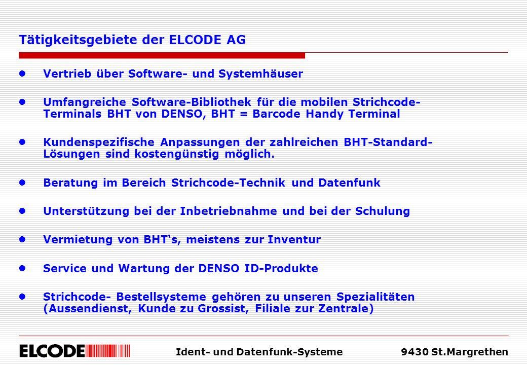Ident- und Datenfunk-Systeme9430 St.Margrethen Vertrieb über Software- und Systemhäuser Umfangreiche Software-Bibliothek für die mobilen Strichcode- T