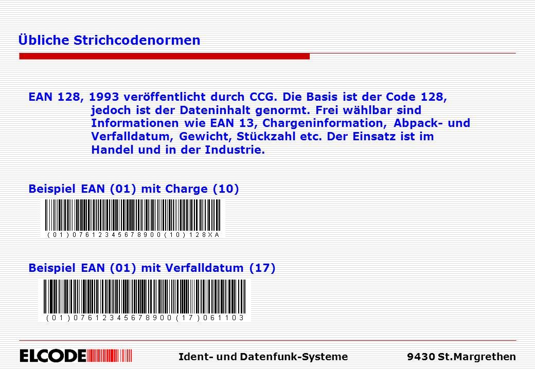 Ident- und Datenfunk-Systeme9430 St.Margrethen Übliche Strichcodenormen EAN 128, 1993 veröffentlicht durch CCG. Die Basis ist der Code 128, jedoch ist