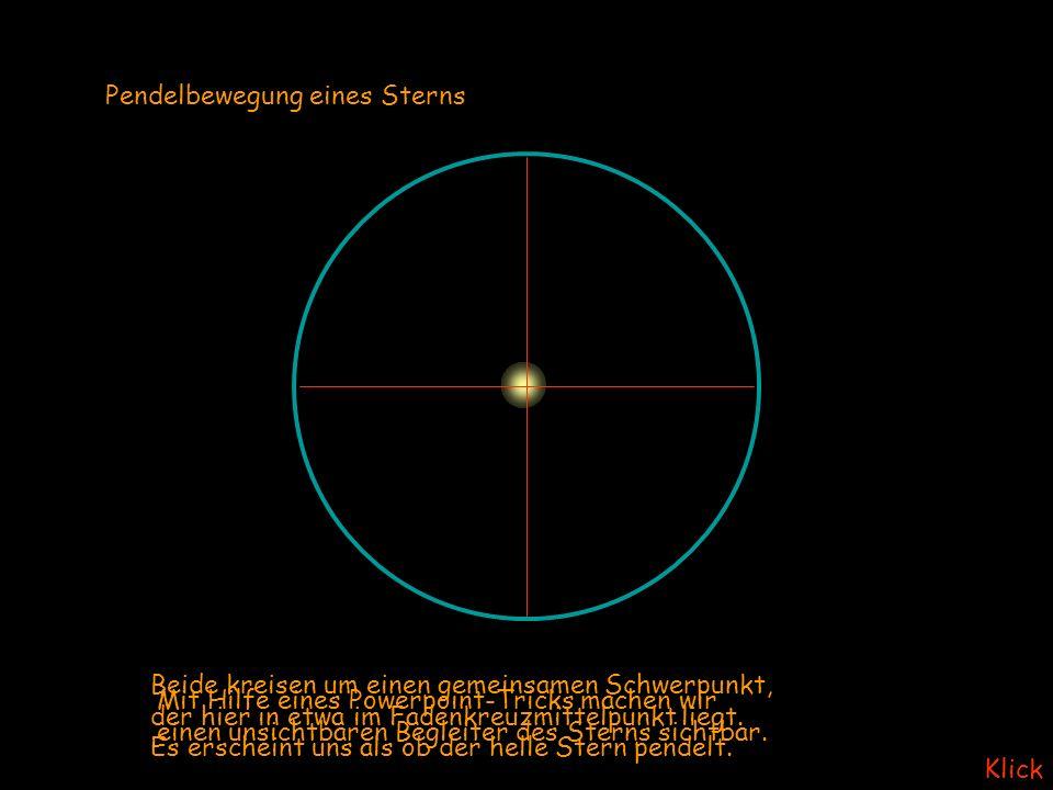 Pendelbewegung eines Sterns Mit Hilfe eines Powerpoint-Tricks machen wir einen unsichtbaren Begleiter des Sterns sichtbar.