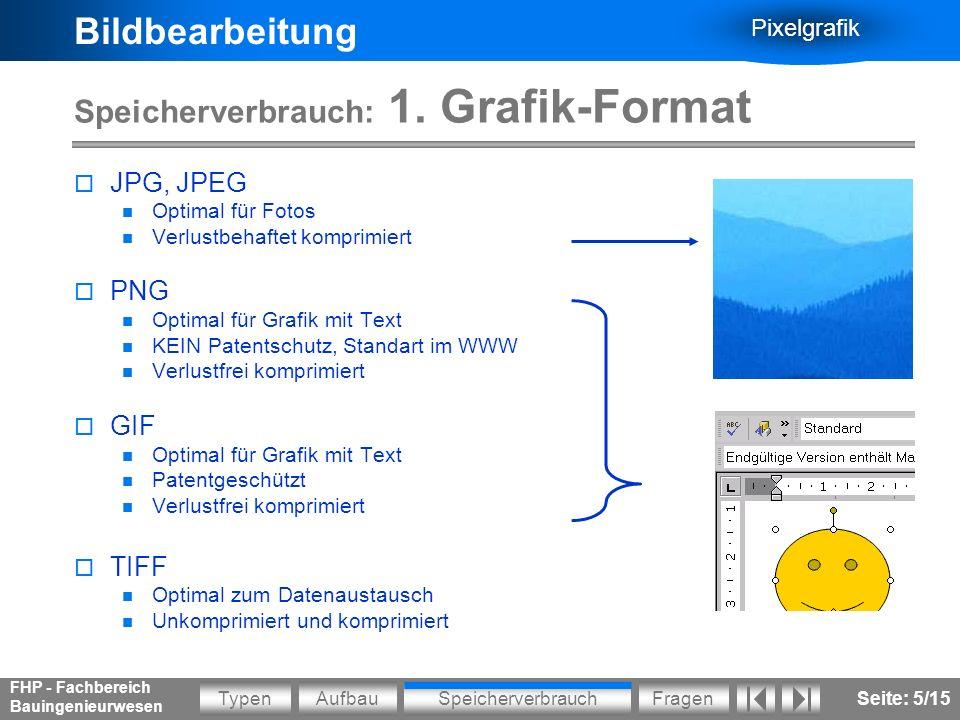 Bildbearbeitung Pixelgrafik AufbauSpeicherverbrauchFragenTypen FHP - Fachbereich Bauingenieurwesen Seite: 6/15 Speicherverbrauch: 2.