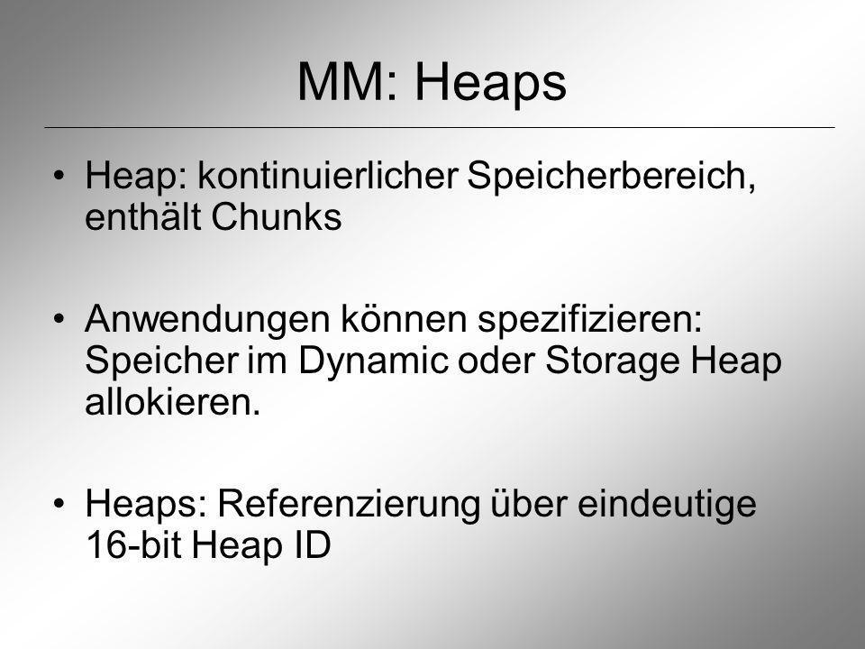 MM: Heaps Heap: kontinuierlicher Speicherbereich, enthält Chunks Anwendungen können spezifizieren: Speicher im Dynamic oder Storage Heap allokieren.